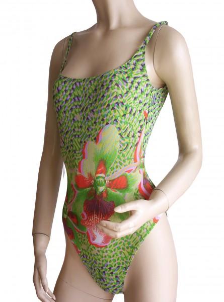 Badeanzug sportlich durchbäunend Gr. 38 B-Cup Blume in grün/orange