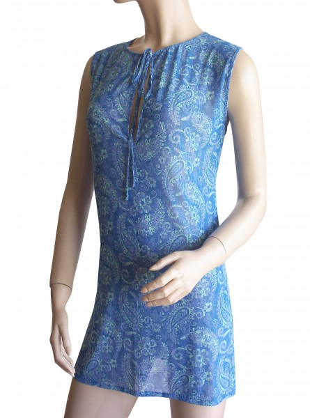 Ärmelloses Strand-Kleid, Tunika Solar Paisley in blau