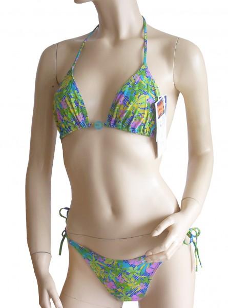 Neckholder-Triangel-Bikini durchbäunend Gr. 38 B-Cup Blüten in grün/pink