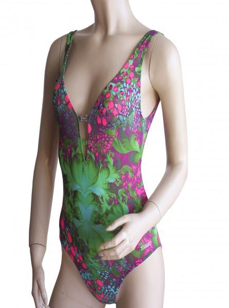 Sexy Badeanzug Solar Tan Thru durchbäunend B-Cup grün/violett