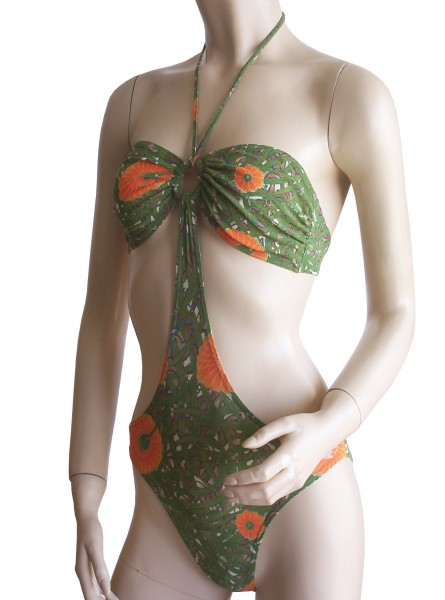 Sexy Monokini Badeanzug durchbäunend Gr. 38 B-Cup grün/orange