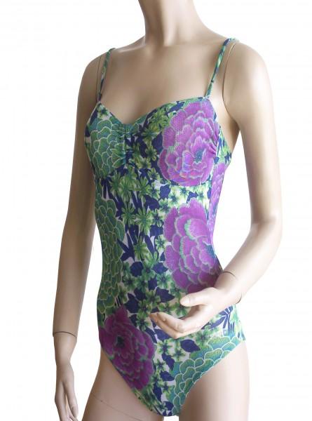 Sexy Badeanzug mit Bikini-Rücken durchbäunend Gr. 38 B-Cup grün/lila