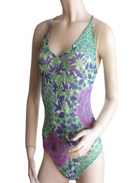 Sexy Badeanzug durchbäunend Gr. 38 B-Cup grün/lila