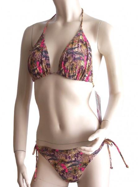 Neckholder-Bikini durchbäunend C-Cup Sterne in braun/pink