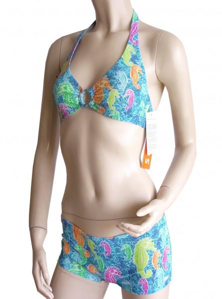 Neckholder-Triangel-Bikini mit Panty durchbäunend Gr. 38 B-Cup Seepferdchen in blau