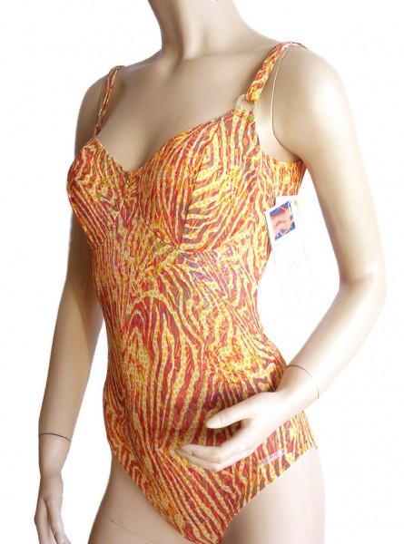 Bügel-Badeanzug durchbäunend Gr. 48 C-Cup Streifen in orange