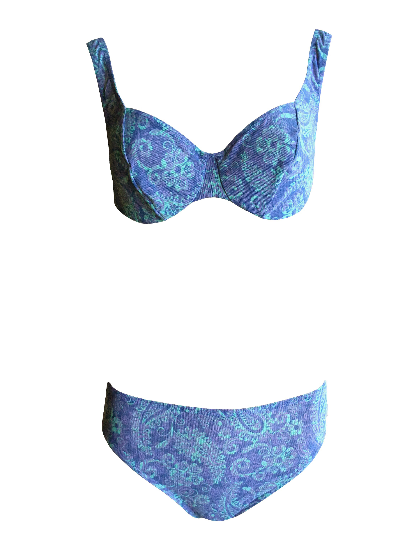 40 B-Cup blau Tan Thru Bügel-Bikini durchbräunend Solar Gr 38 36