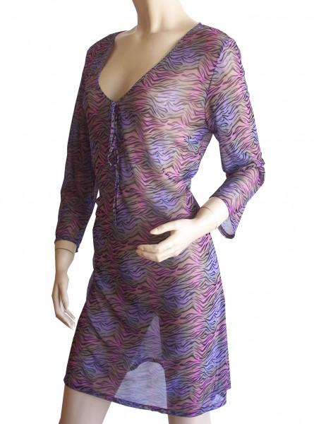 Langarm-Strand-Kleid, Tunika Solar Wellen in lila