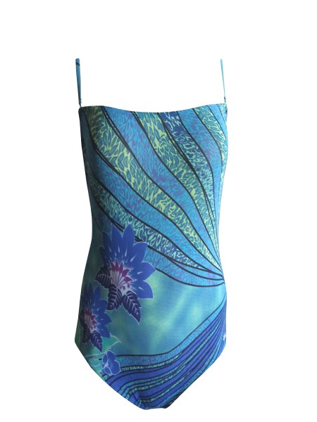 Bandeau-Badeanzug Solar Tan Thru durchbäunend Gr. 48 B-Cup blau/grün