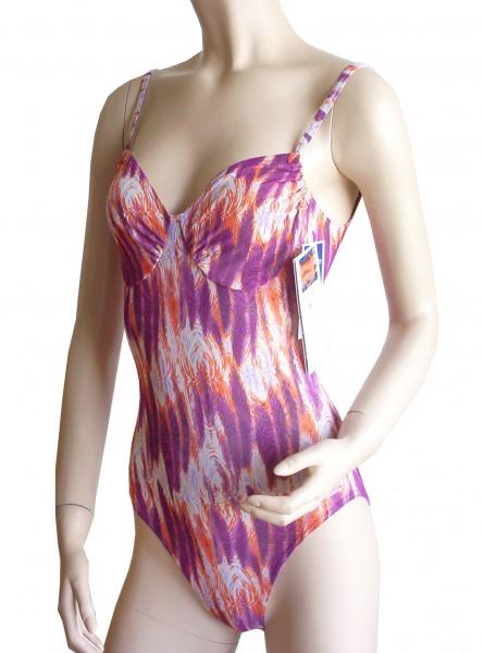 Badeanzug durchbäunend Softcups mit Cupband B-Cup lila/orange