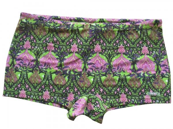 Badehose durchbäunend Shorty Gr. 5 Blüten in lime/purple