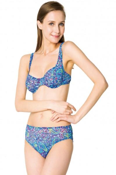 Bügel-Bikini durchbäunend B-Cup, C-Cup oder D-Cup Paisley in blau