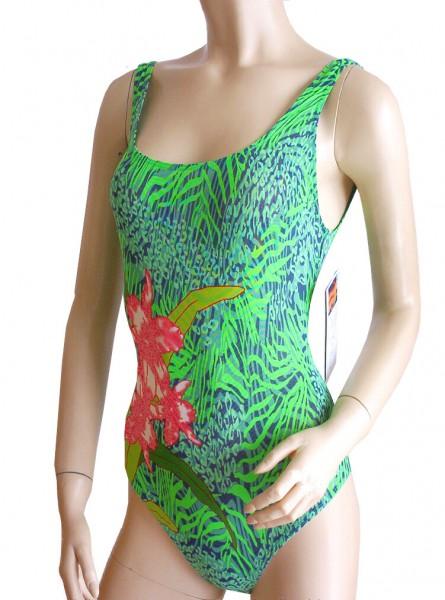 Badeanzug durchbäunend sportlich Gr. 46 B-Cup grün/orange