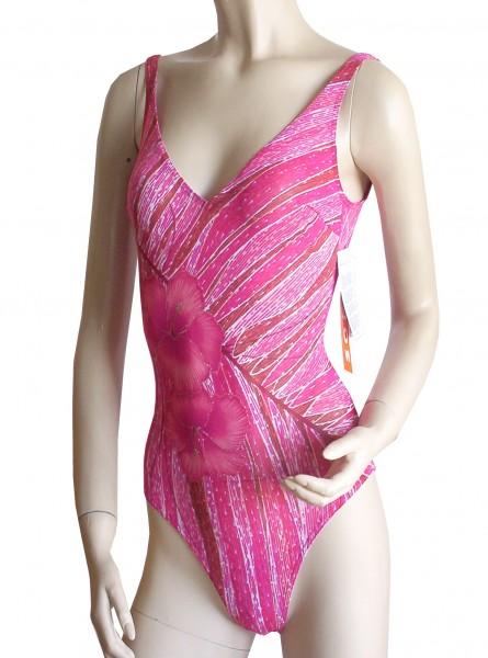 Badeanzug durchbäunend mit V-Ausschnitt B-Cup rot/rosa