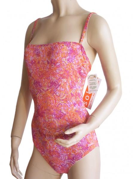 Bandeau-Badeanzug Solar Tan Thru durchbäunend B-Cup orange/lila