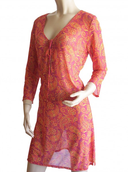 Langarm-Strand-Kleid, Tunika Solar Paisley in orange