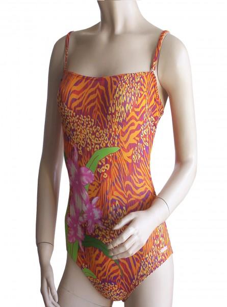 Bandeau-Badeanzug Solar Tan Thru durchbäunend B-Cup oder C-Cup Blume in orange