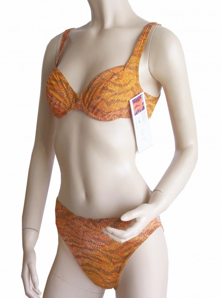 Bügel-Bikini durchbäunend Gr. 38 B-Cup Leoprint in orange