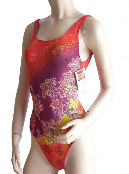 Badeanzug durchbäunend sportlich B-Cup rot/orange