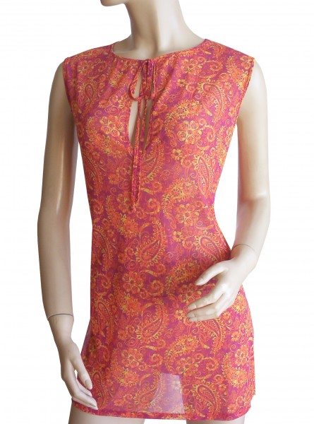 Ärmelloses Strand-Kleid, Tunika Solar Paisley in orange