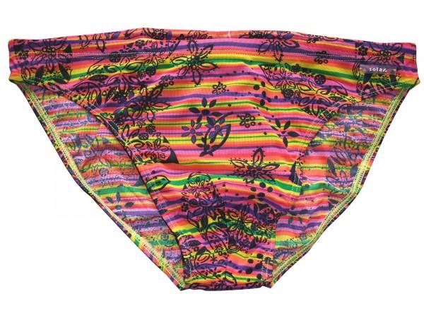 Badehose durchbäunend Slip Streifen in rot/gelb