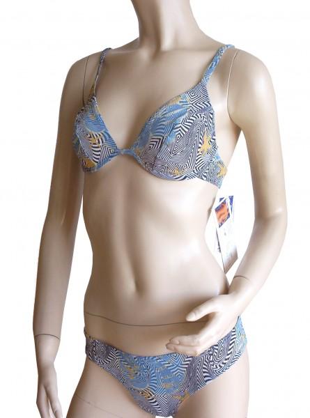 Bügel-Triangel-Bikini durchbäunend Gr. 38 B-Cup Sterne in blau/schwarz