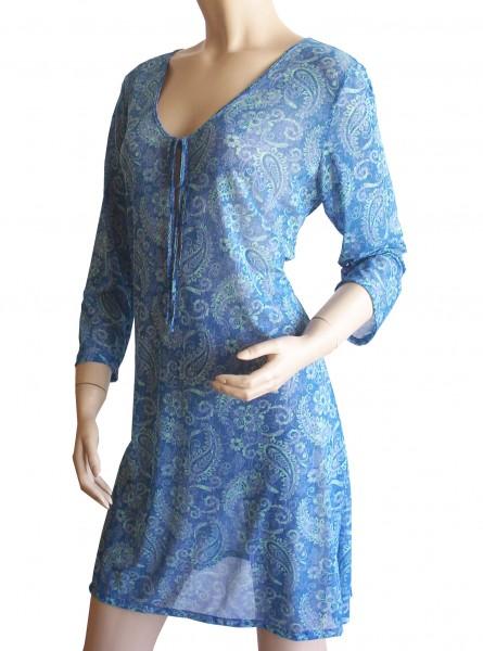 Langarm-Strand-Kleid, Tunika Solar Paisley in blau